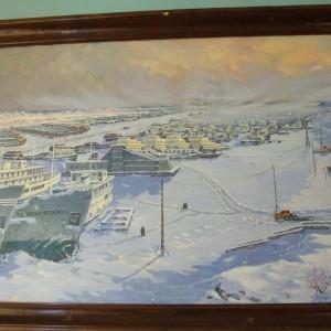 Такую картину Подтесовской базы флота сейчас   можно увидеть только на картине
