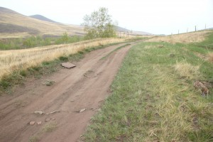 Дорога пролегла прямо по кургану, разрушая его