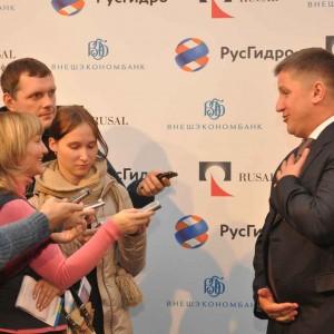 Председатель правительства ОАО РусГидро Евгений ДОД отвечает журналистам